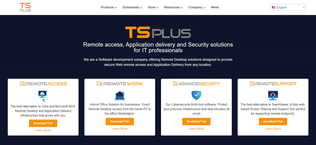 screenshot new tsplus.net remote access solutions
