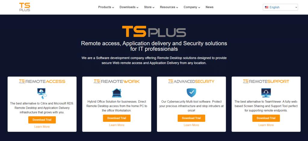 screenshot bagong mga solusyon sa malayuang pag-access ng tsplus.net
